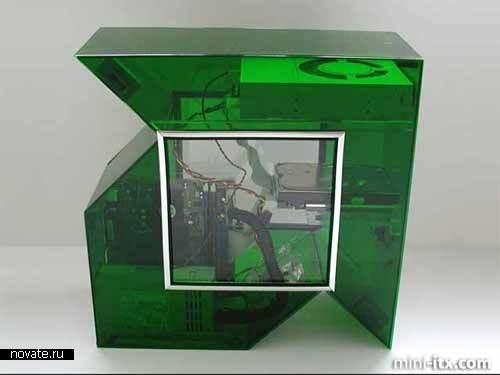 Компьютерный корпус в виде логотипа компании AMD