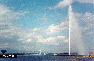Фонтан, расположенный в Женеве