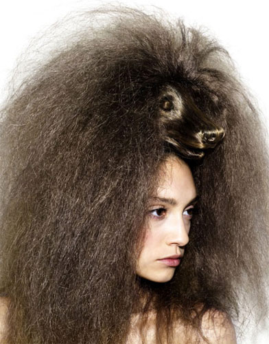 Прическа-парик-шляпа в виде животных