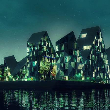 Дома словно айсберги – проект жилого комплекса в Дании