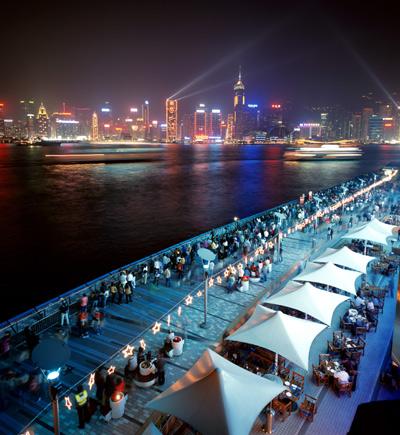 Празднование Нового Года на набережной в Гонконге