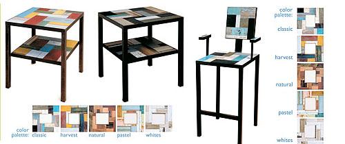 Стул и столик из лоскутов дерева