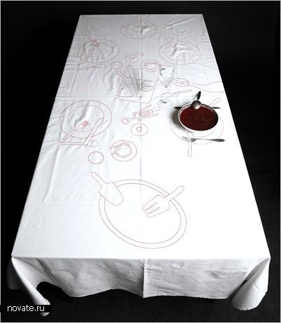 Сервированная пунктиром скатерть