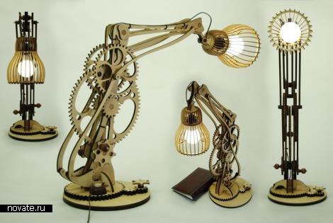 Необычная настольная лампа Механограф выполненая в стиле стимпанк