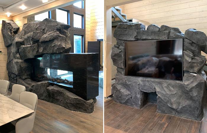 В этом проекте было создано две искусственные скалы: одна помогла обыграть каминный портал из черного камня, другая стала нишей для телевизора.