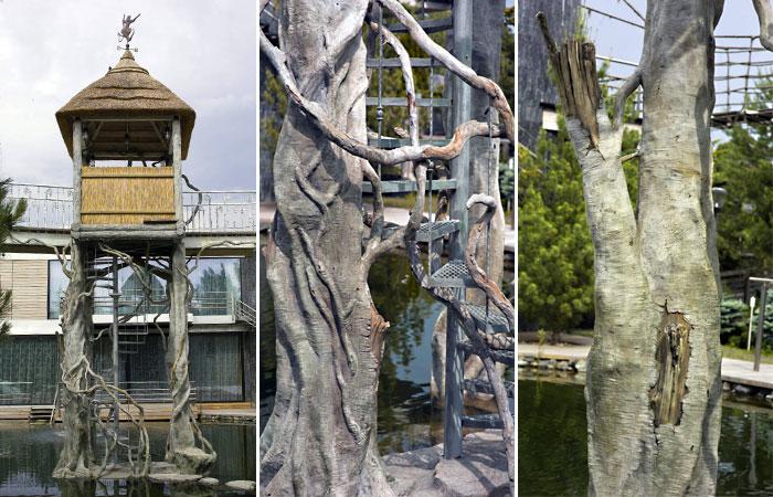 Мангровые деревья из арт-бетона. / В воздушных корнях мангровых деревьев из арт-бетона удалось незаметно спрятать металлическую лестницу, ведущую в чайный домик.