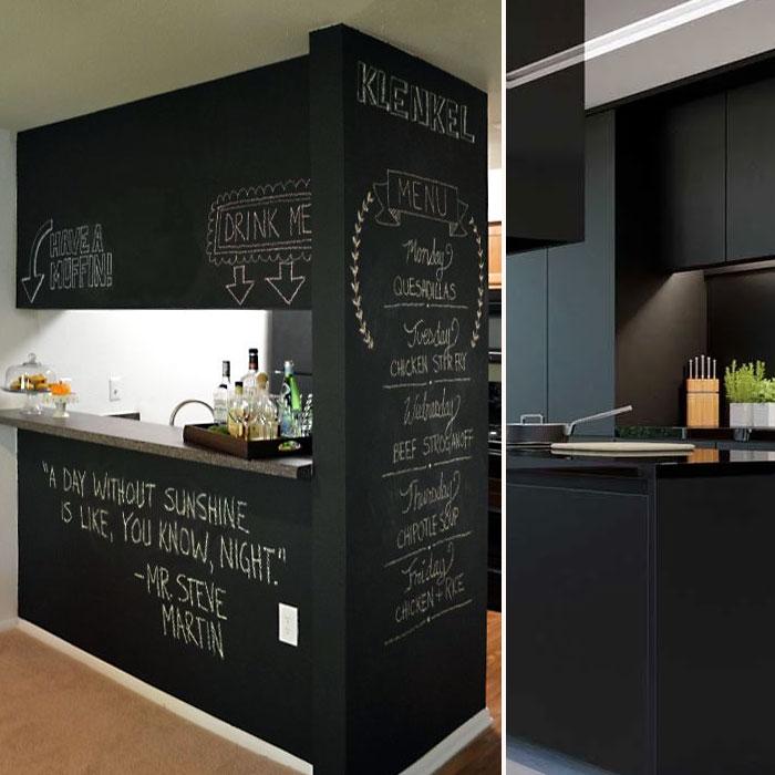 Кухня черного цвета превращается в одну большую поверхность для записей.