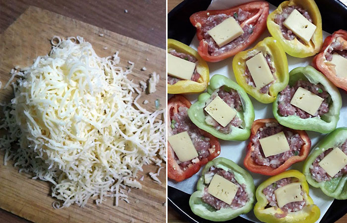 Фаршированные половинки перца с сыром.
