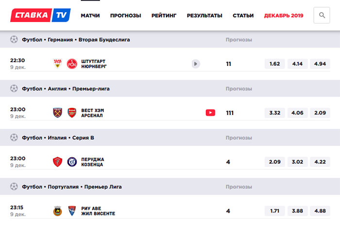 Матч-центр СТАВКА TV.