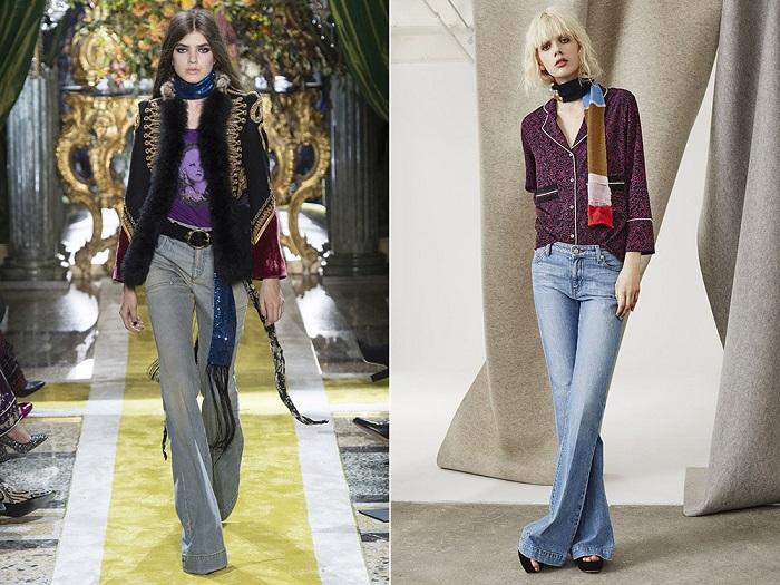 Расклешенные джинсы прекрасно сидят как на стройных, так и на слегка полноватых девушках