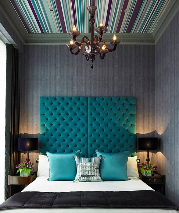 Спальня в серо-бирюзовых тонах