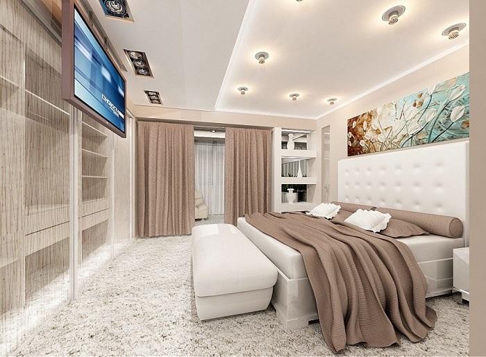 Спальня с выдвижным телевизором