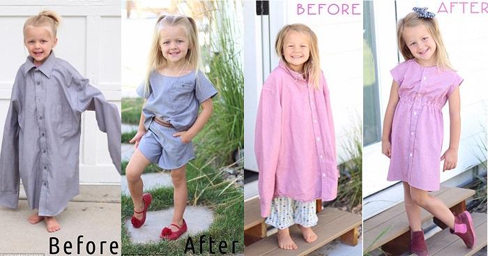 Стефани Миллер превращает старые рубашки мужа в очаровательные платья для своих дочерей