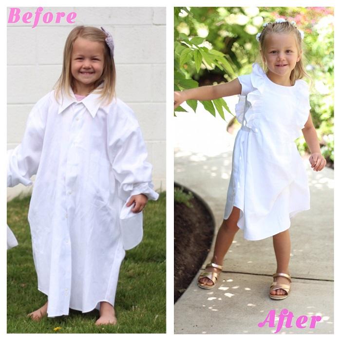 Сначала Стефани выкладывает фото в рубашках, а потом - в платьях, сшитых из их тканей