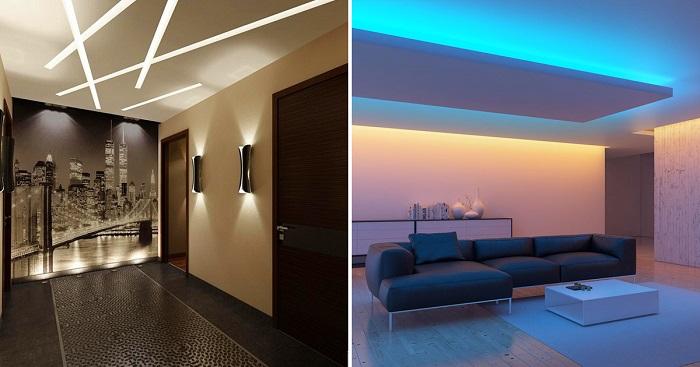 Декор стены светом создаст необычный эффект в квартире