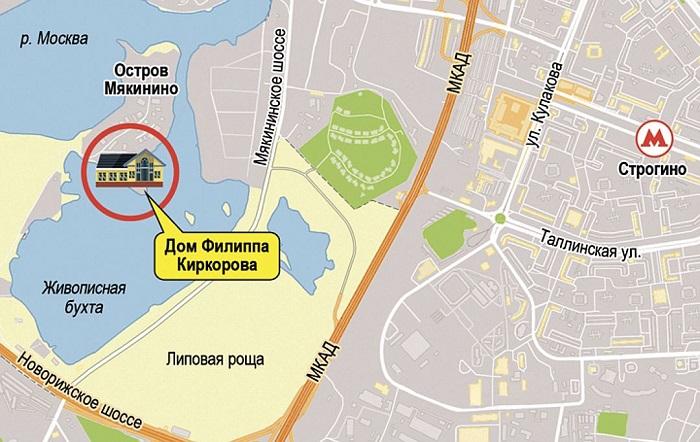 Поместье Киркорова расположено на элитном полуострове в Мякинской пойме