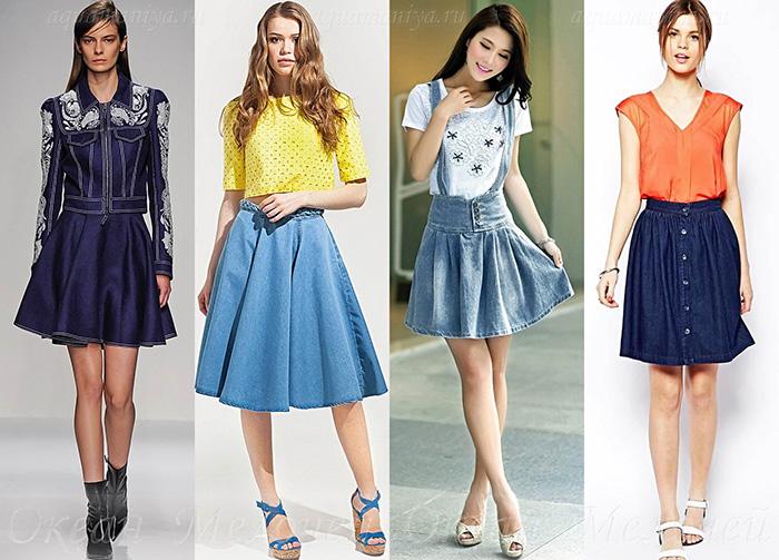 Джинсовая юбка-солнце подчеркнет романтичность вашего образа