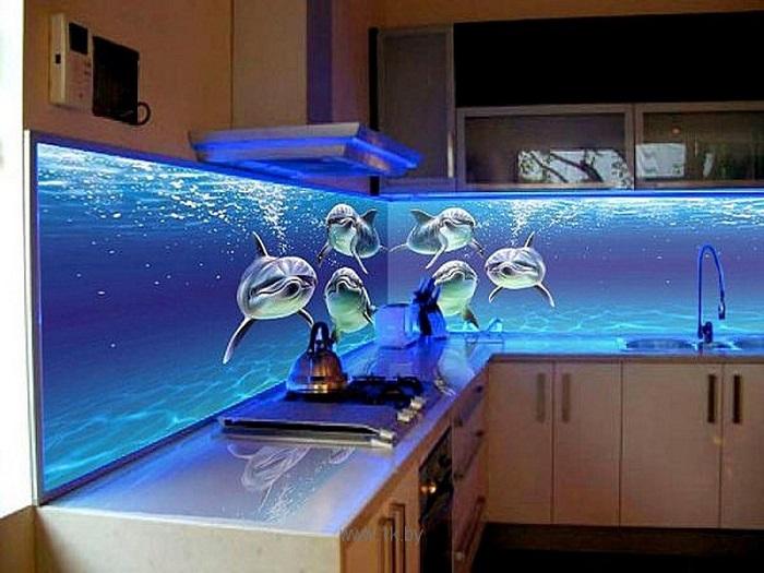3D фотопечать на кухонном фартуке
