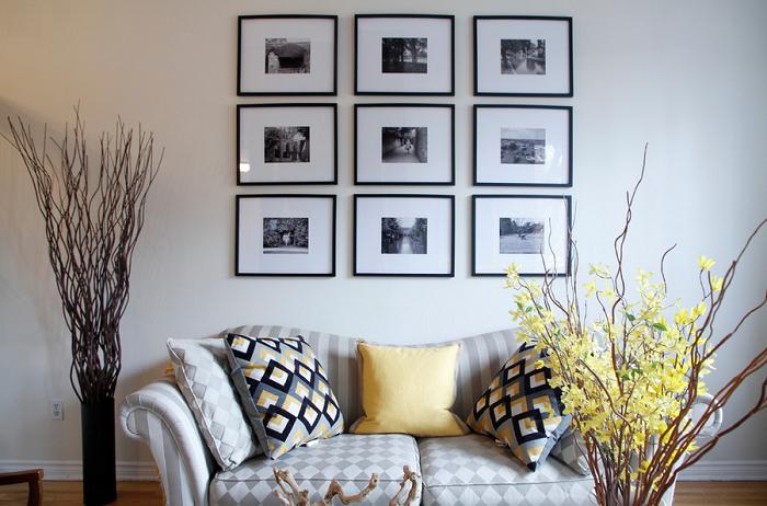 Повесить на стену 9 фотографий одинакового размера очень просто
