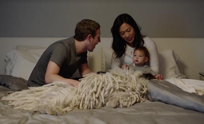 Марк Цукерберг с супругой и дочерью.