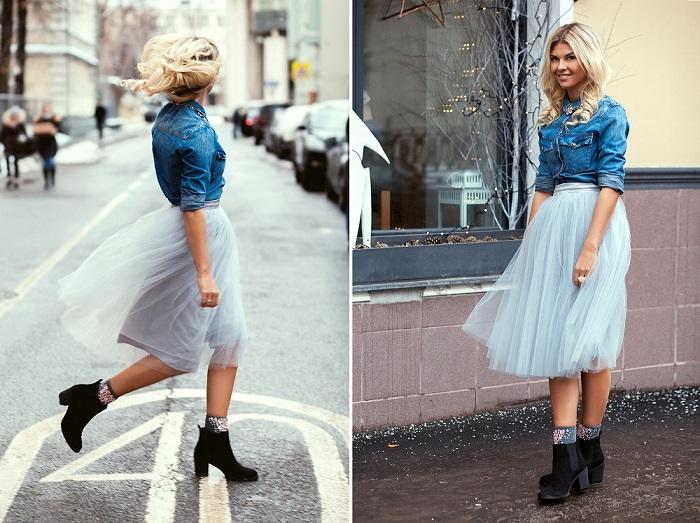Грубая обувь и юбка-пачка - отличный тандем