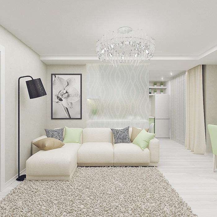 Светлые стены и потолок увеличивают и вытягивают комнату