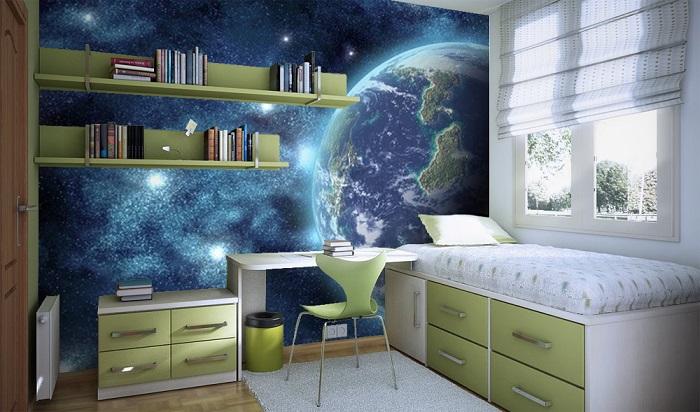 Комната для школьника с космическими мотивами