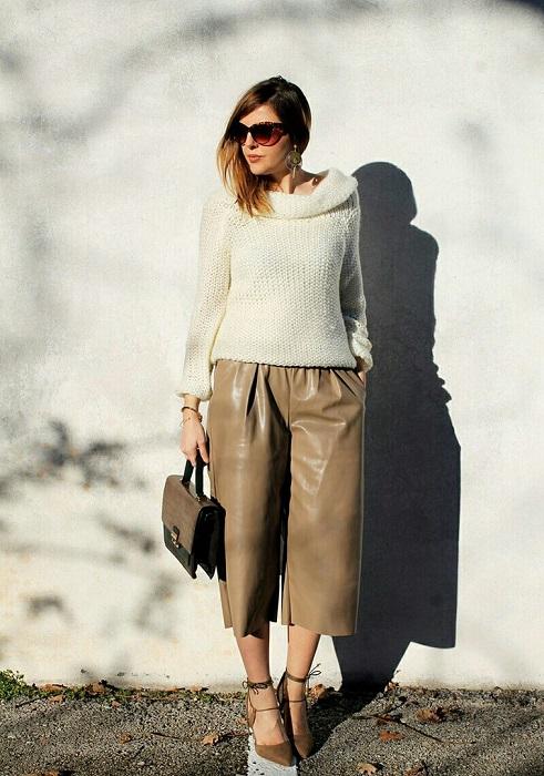 Светлые кожаные кюлоты – выбор для самых смелых модниц