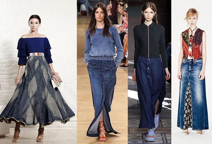джинсовая макси-юбка - прекрасный выбор для выхода в свет
