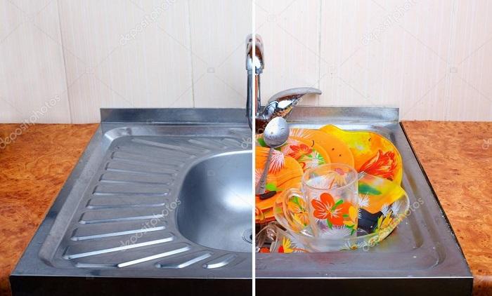 Не накапливайте грязную посуду.