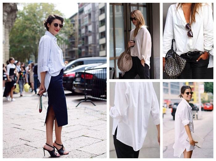Мужская белая рубашка делает женский образ более притягательным