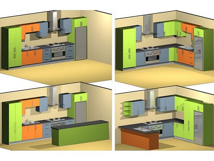 При планировке кухни нужно учитывать размер помещения