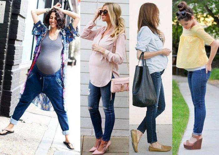Джинсы и топ - отличный выбор для беременных