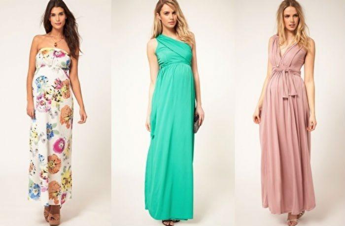 Платья в пол подчеркнут женственность будущих мам