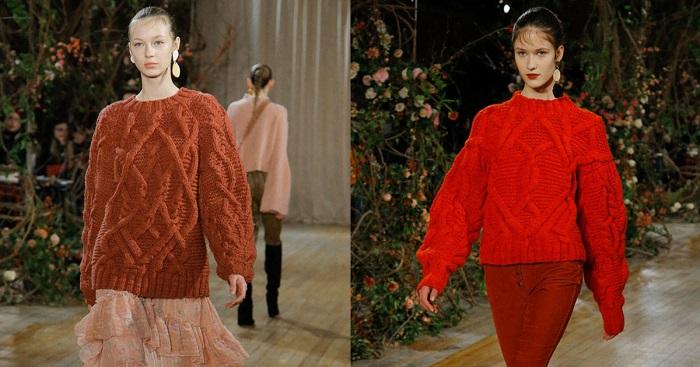 Этой осенью свитер должен быть насыщенного оттенка с крупной вязкой