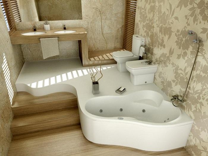 Обои - очень необычный отделочный материал для ванной комнаты