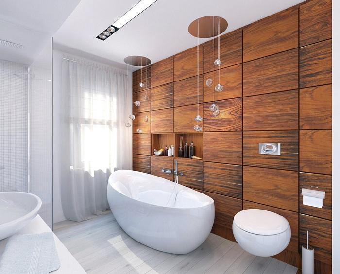 Дерево добавит в ванную уюта и теплоты