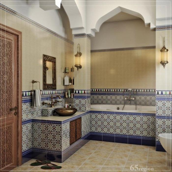 Таделакт можно использовать не только для отделки стен, но и ванной или умывальника