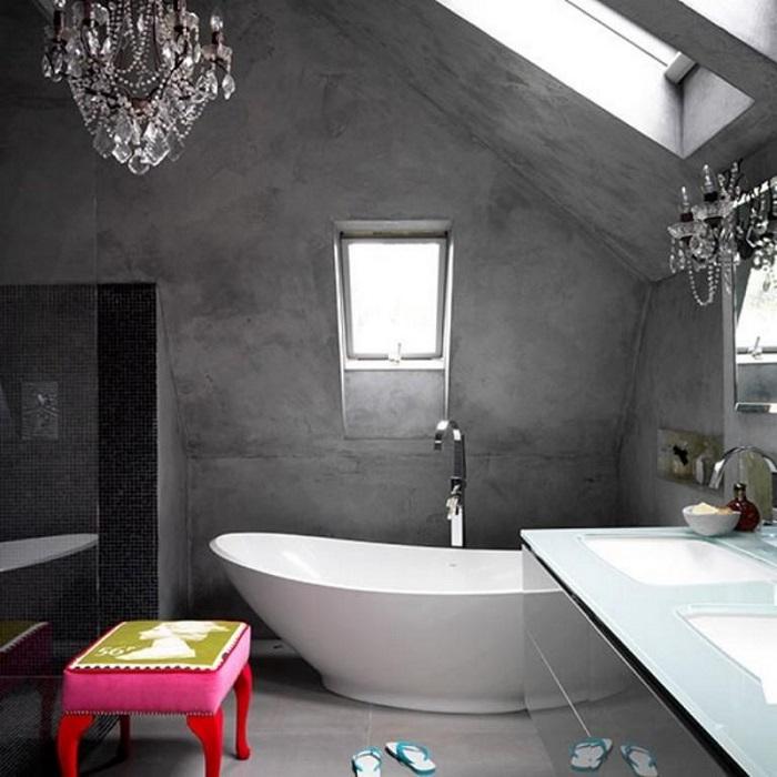 Бетон часто используют для создания ванной в стиле лофт