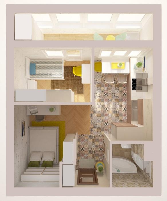 Однокомнатная квартира для молодой семьи с ребенком