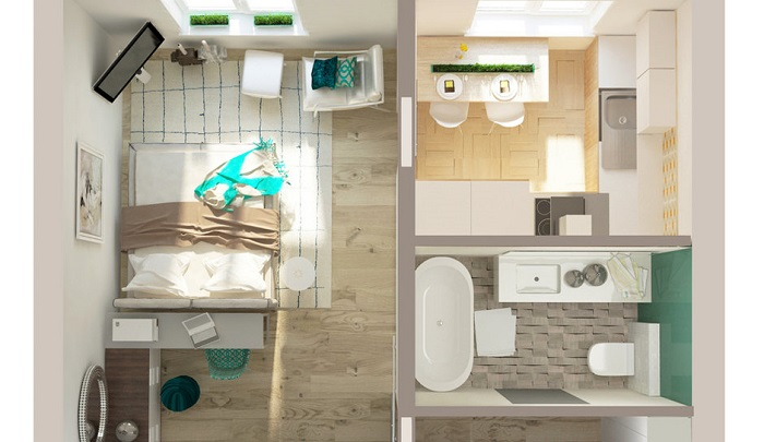 Однокомнатная квартира с просторной ванной