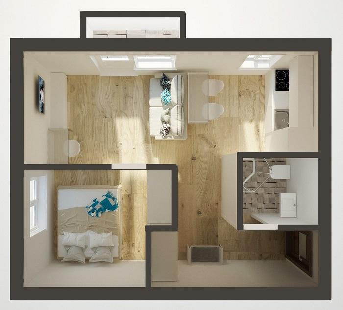 Квартира-студия с отдельной спальней