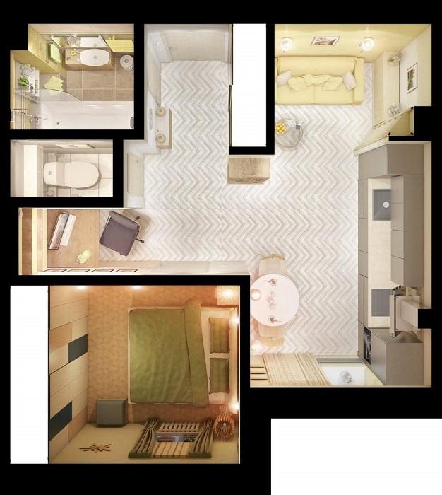 Квартира, где спальня расположилась на месте кухни