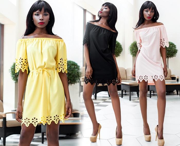 Платья с открытыми плечами очень актуальны этим летом
