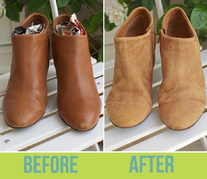 Кожаную обувь легко переделать в замшевую