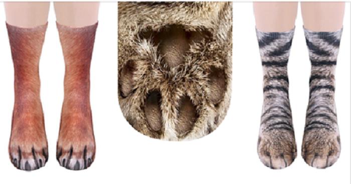 В сети появились носки в виде лап кошек и собак