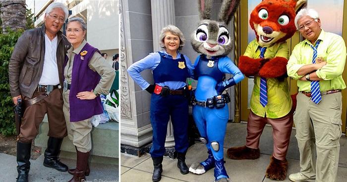 Очаровательная пара пенсионеров покорила Сеть, перевоплощаясь в героев из мультиков