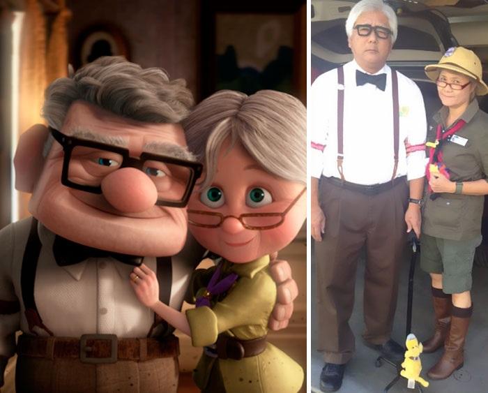 Первое перевоплощение Стивена и Милли - Карл и Элли из мультфильма