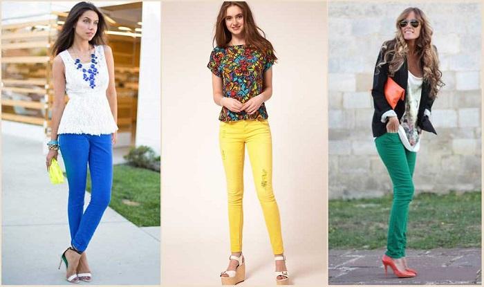 Как сочетать цветные брюки