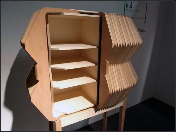 Accordion Cabinet. Деревянный аккордеон в виде шкафа
